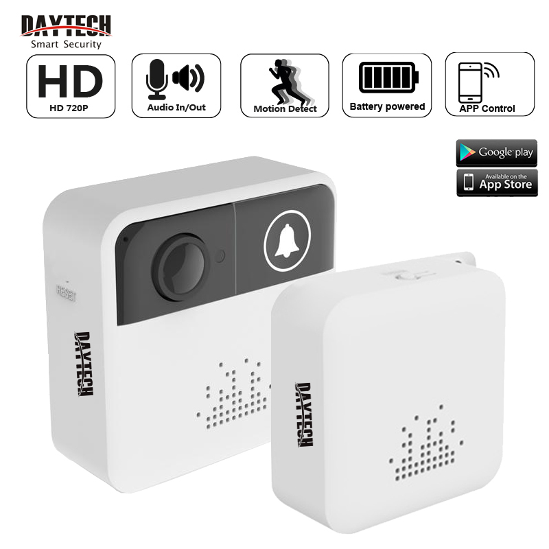 DAYTECH Wireless Video Doorbell Battery Powered Ring Home Welcome Door Bells Two Way Intercom Mobile APP View 720P HD