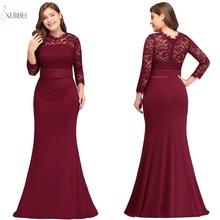 Xunbei Русалка вечернее платье Элегантный бордовый с длинным рукавом формальное платье Кружева Аппликация robe de soiree