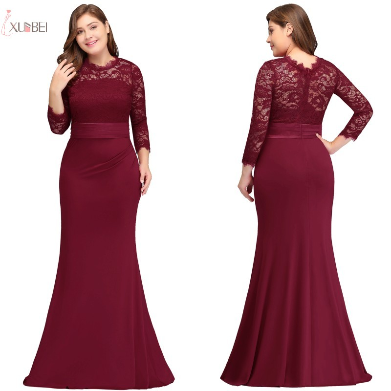 2019 Plus Size Long   Evening     Dress   Mermaid Scoop Neck Three Quarter Sleeve Gown robe de soiree