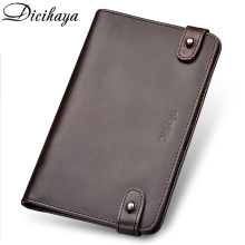 DICIHAYA Genuine Leather Men Wallet Credit Business Card Holders Cowhide Zipper Purse Carteira More Pen Bag