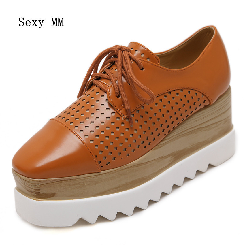 High Quality Platform Oxfords Women Shoes Wedges Flats Lace Up Vintage Luxury Platform Wedge Casual Flat Shoes Orange Silver bling patent leather oxfords 2017 wedges gold silver platform shoes woman casual creepers pink high heels high quality hds59