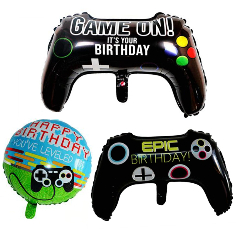 Video Game Console Controller Keyboard Foil Balloon Birthday Party Decoration supplies Internet gamepad tool kids boy favors Toy image