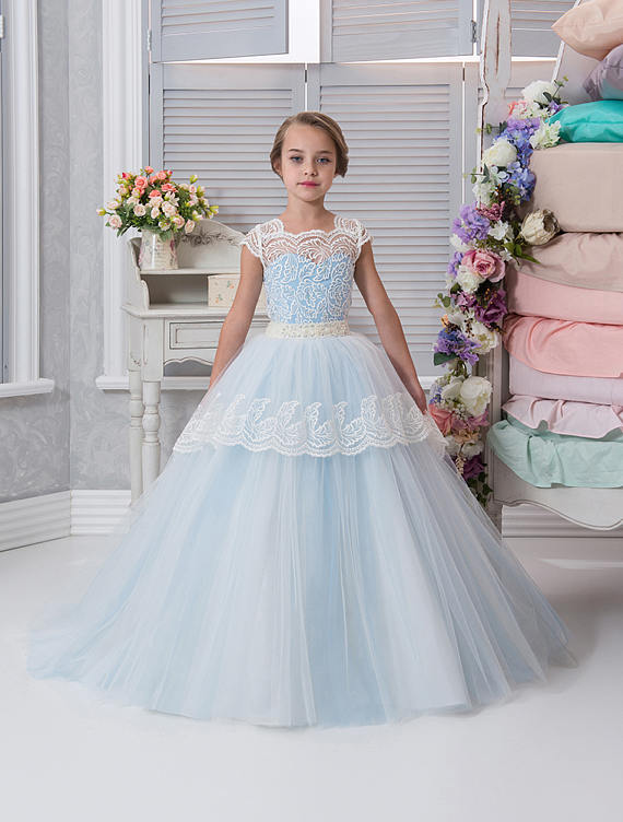 Lace Puffy Flower Girl Dresses for Weddings 2017 Blue Kids Evening Dress Holy Communion Dresses For Girls Pageant Gowns