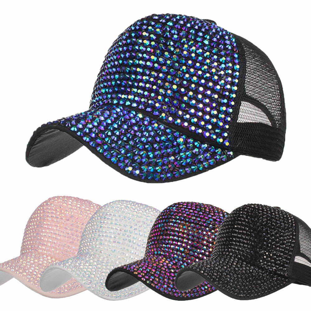 New Arrival Fashion 2018 Women 54~62cm Casual Rhinestone Hats Female  Baseball Cap Bling Diamond 35e1d79f59d2