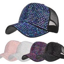a3f26951a445f CHAMSGEND 2018 Fashion Women Rhinestone Hats Female Baseball Cap Bling  Diamond Hat Summer Sunshade Mesh Caps