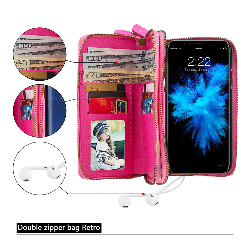 Luxury Zipper Leather Wallet Case For iPhone XS Max XR X 8 7 Plus Multifunction Flip Cover For iPhone 6 6S 5 5S SE Phone Bags