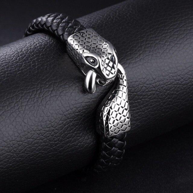 Купить браслеты манжеты мужские из натуральной кожи со змеиным плетением