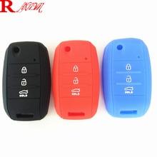 1pcs Car Silicone Flip Folding Key KIA rio Sportage 2015 ceed Sorento cerato K2 K3 K4 K5 flip key set jacket Cover case remote