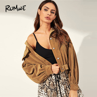 ROMWE Drop Shoulder Button Up Corduroy Jacket 2019 Camel Solid Bishop Sleeve Jackets Women Spring Autumn Pocket Jackets