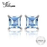 2015 New Fashion 0 76ct Natural Sky Blue Topaz Women Classic Princess Cut Earrings Stud Solid