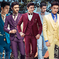 Caballero Retro stylemen trajes sastre traje trajes para hombres Blazer 3 unidades Jacket + Pants + Vest presidió el padrino de boda