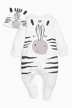 Fashion newborn toddler baby rompers long sleeve cartoon zebra jumpsuit infant clothing baby boy girl clothes with cap