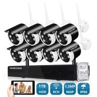 SUNCHAN 8CH CCTV System Wireless 960P NVR 8PCS 1 3MP IR Outdoor P2P Wifi IP CCTV
