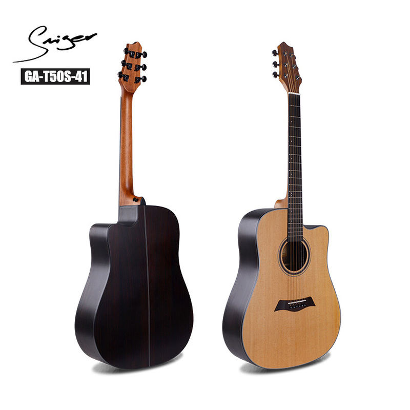 Guitare en épicéa massif palissandre acoustique électrique acier-ficelle 41 pouces d-body Guitarra 6 cordes Folk Pop coupe bois couleur