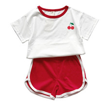 Summer Fashion Active Girls Sports Set Baby Children Clothing Set Short Sleeve T-shirt+Shorts Two-Piece Cotton Kids Clothes Suit shein apricot appliques button top and shorts elegant girls clothing two piece set 2019 spring fashion vintage children clothes