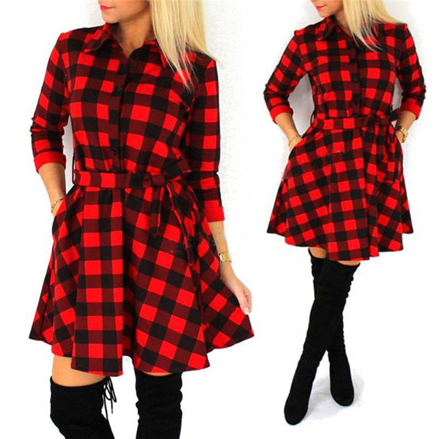 Plaid Check Shirt Dress Autumn Women Flannel Long Sleeve Lapel Collar Grid  Dress Casual Loose Mini Dresses 06f363280