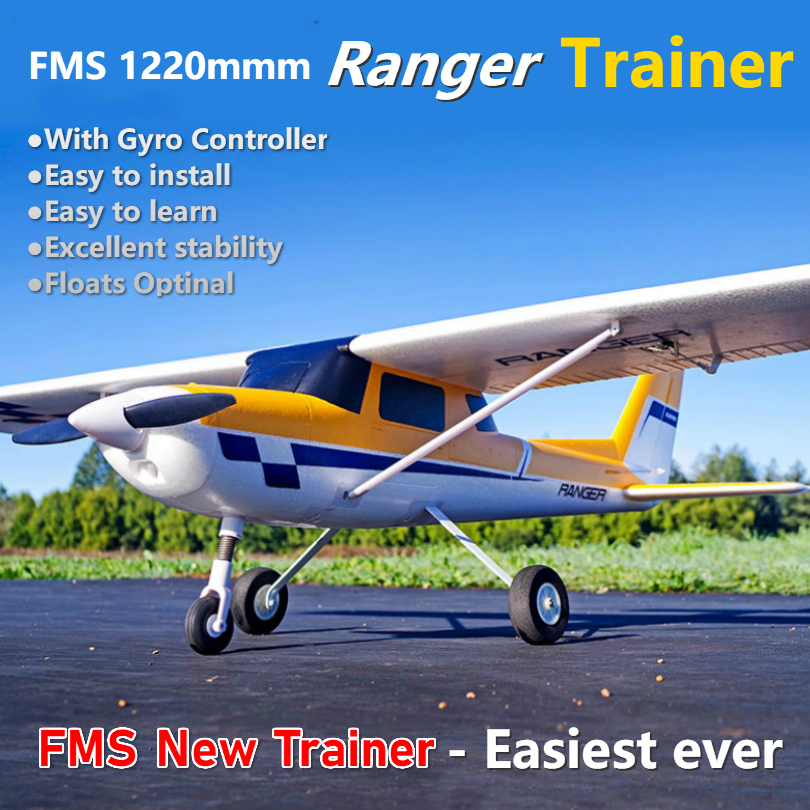 FMS 1220 milímetros Ranger Instrutor Iniciante Avião RC Avião com Giroscópio Reflex Autobalance 4CH 3S Modelo de Aeronave EPO PNP flutua opcional