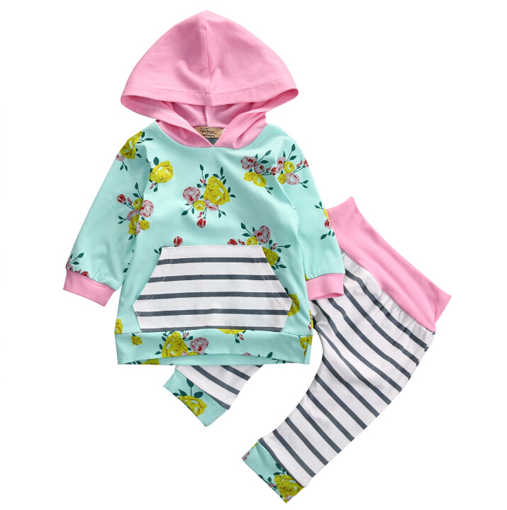 Newborn Baby Infant Girls Clothes Tops T-Shirts Long Sleeve Outfits Flower Pants Casual Hooded Baby Girl Clothing New infant newborn baby girls clothes set hooded tops long sleeve t shirt floral long leggings outfit children clothing autumn 2pcs