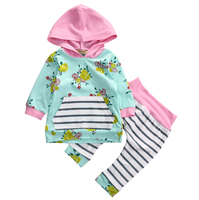 Newborn Baby Infant Girls Clothes Tops T Shirts Long Sleeve Outfits Flower Pants Casual Hooded Baby
