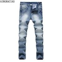 AIRGRACIAS High Elasticity Jeans For Men Classic Mens Jean Casual Denim Men Long Pants Trousers Biker