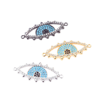 2018 NEW CZ Blue Eye Connector for Bracelets/Necklaces, Cubic Zirconia DIY  Jewelry Accessories Connector Beads