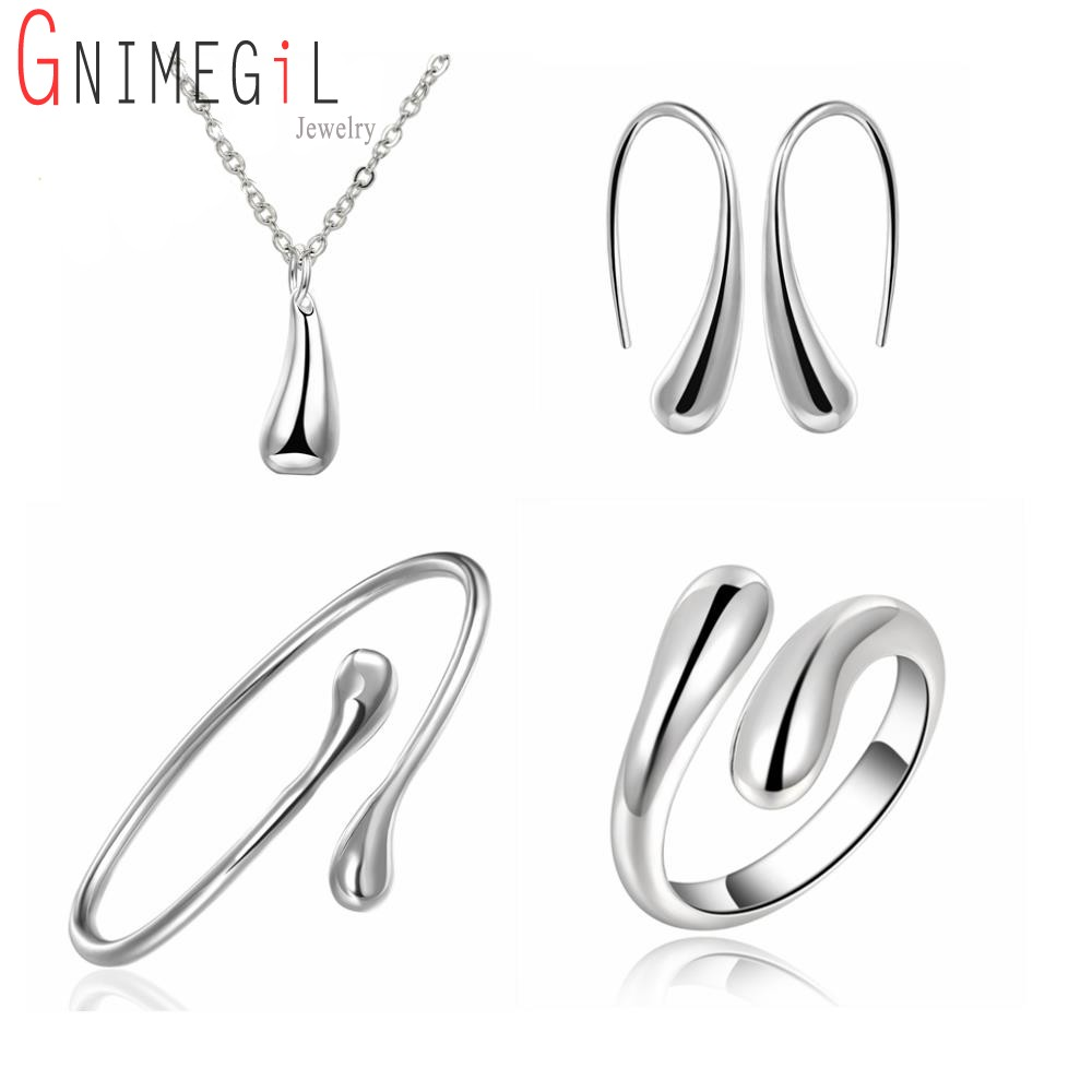 GNIMEGIL 925 silver Wedding jewelry set Water Drop Jewelry Sets Ring+Necklace Bangle+Earrings Women Silver 925 Stamped Jewellry