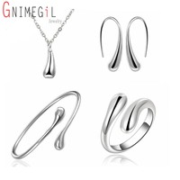 Big promotion s222 silver color water drop jewelry sets ring necklace bangle earrings women 925 stamped.jpg 200x200