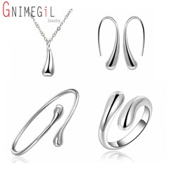 Big promotion s222 silver color water drop jewelry sets ring necklace bangle earrings women 925 stamped.jpg 250x250
