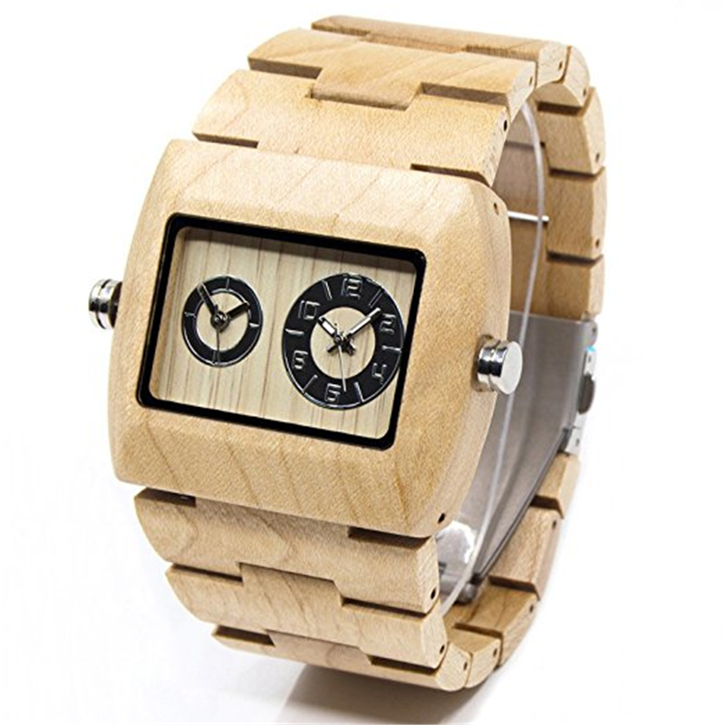 BEWELL Fashion Mens Wooden Watch Sub-dial Rectangle Dial Dual Time Zone Sport Quartz Wrist Watches 021C bewell multifunctional wooden watches men dual time zone digital wristwatch led rectangle dial alarm clock with watch box 021a