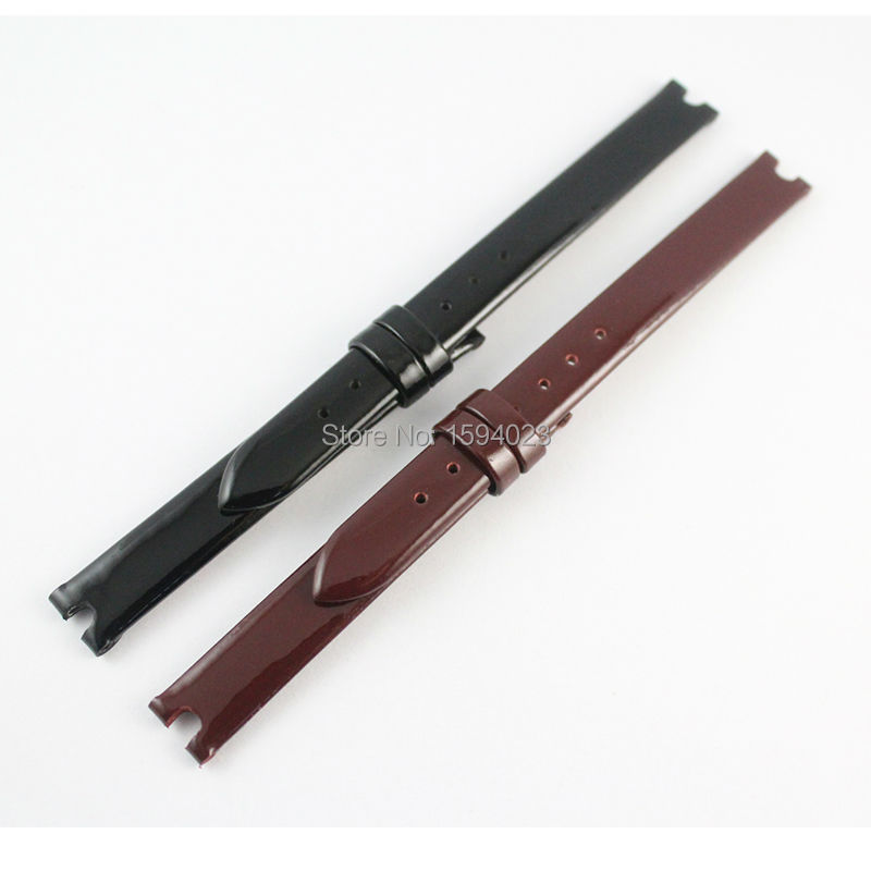 10mm (Buckle10mm) T003 Black Red wine Genuine Patent Leather Coat of paint Watch Bands Strap