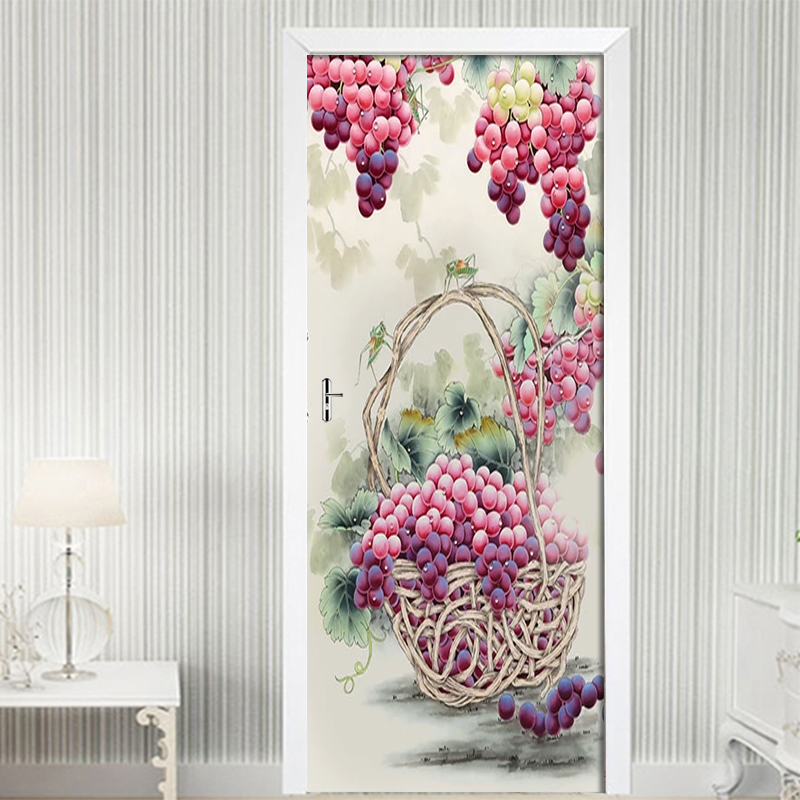 Classic Ink Purple Grape Picture 3D Wall Mural PVC Self adhesive Wall Sticker 3D Door Sticker