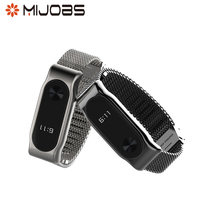 Mijobs Metal Strap Replacement for Xiaomi Mi Band 2 Belt Bracelet Wristband Smart Band Replace Accessories