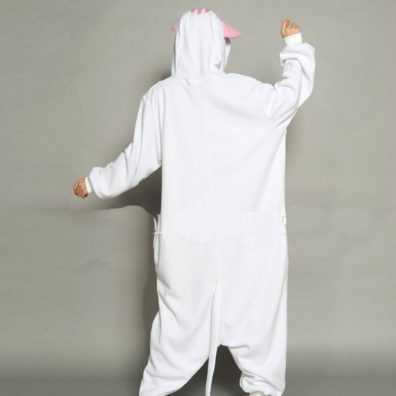 Cute White Cat Onesie Kigurumi Soft Animal Costume Women Jumpsuit For Adult Pyjamas Sleepwear Halloween Kitty Pajamas Cosplay (2)