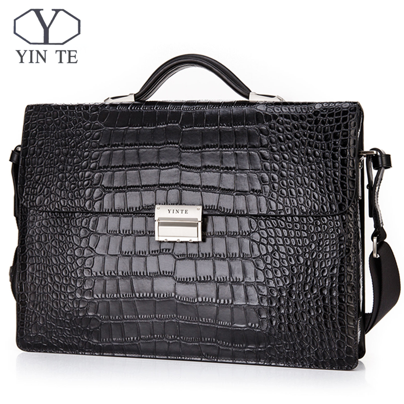 YINTE Leather Briefcase Messenger Shoulder Portfolio Laptop Bag Case Office Handbag Cow Leather Crocodile Pattern Tote T8146-11A