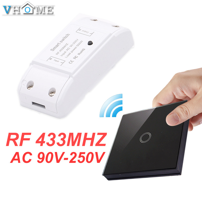 Vhome Wireless Switch Controller Smart Remote Control Touch Light Switch RF Transmitter AC220V 5A For Smart Home LED White/Black