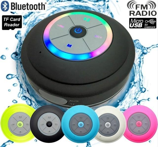 Su geçirmez Bluetooth LED duş hoparlör FM radyo TF kart okuyucu kontrol düğmeleri hoparlör güçlü vantuz açık