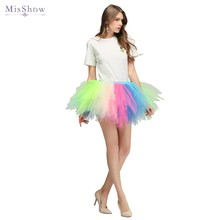 MisShow In Stock Colorful Beach Mini Skirt 2019 Sexy Ladies Tulle Womens Short Rainbow Tutu Women