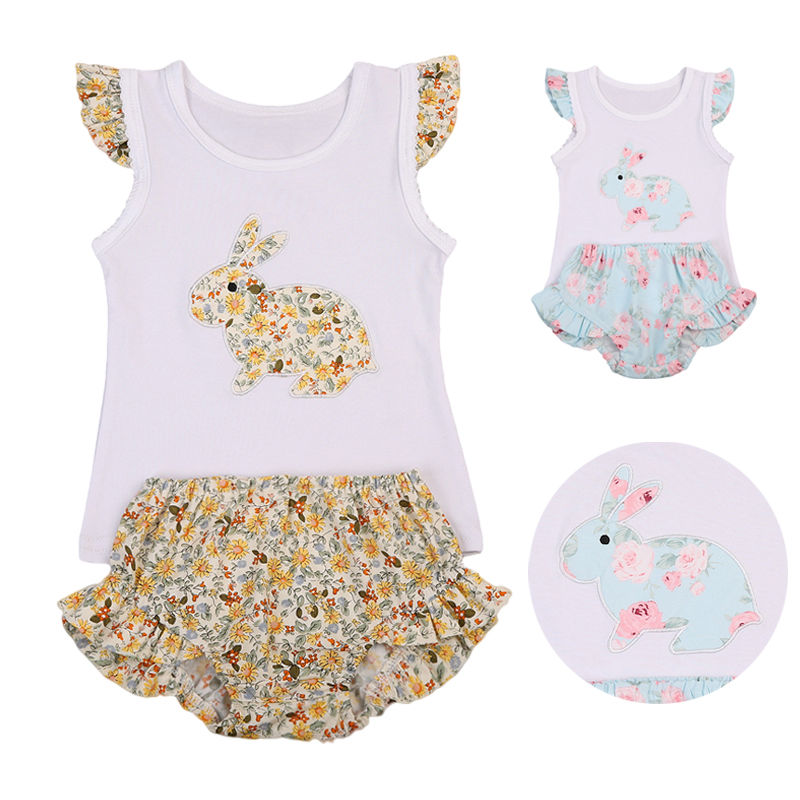 Adorable 2pcs Baby Girl Suit Infant Baby Girls Flying Sleeveless Top Bunny Toddler Kids Floral Shorts Summer Outfits Clothes infant kids baby girls off shoulder floral tops skirt outfits sunsuit enfant children girl solid blue top print skirts 1 6y