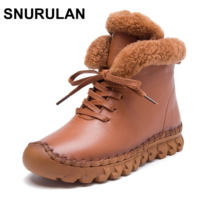 SNURULAN Winter Female Plus Velvet Genuine Leather Shoes Snow Platform Boots Women Thermal Cotton-padded Shoes Flat Ankle Boots цены онлайн