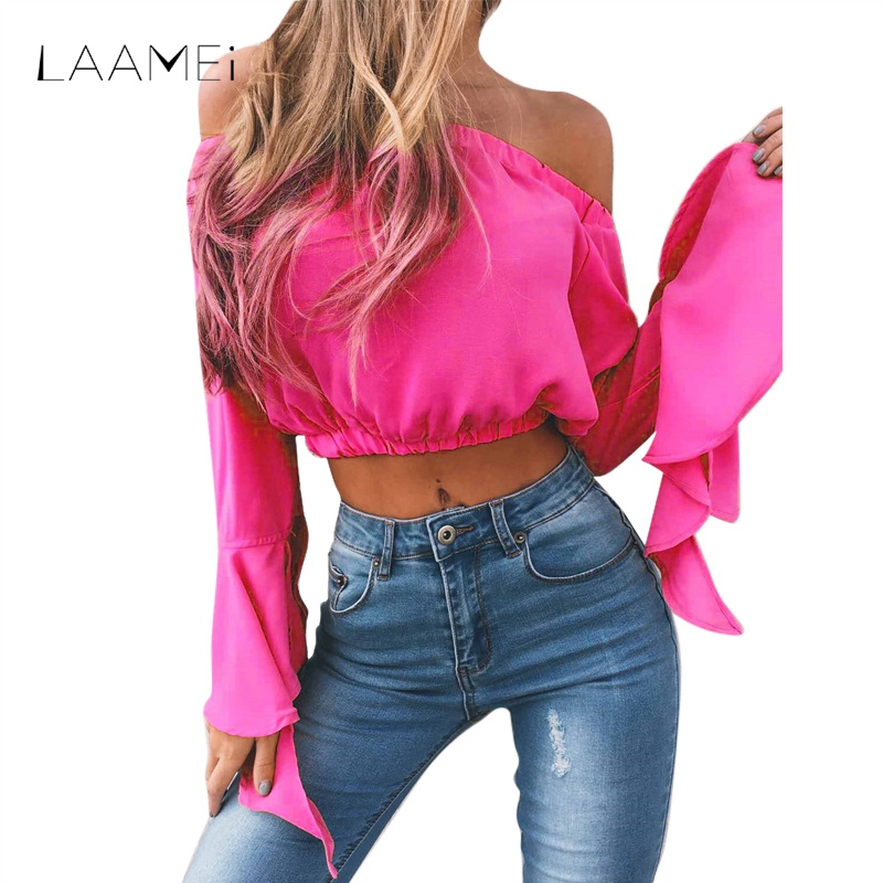 Laamei Wome Long Flare Sleeve Short Tee Shirts Femme 2018 Fashion Solid Crop Top Off Shoulder Sexy Ruffles T-shirt Slash Neck