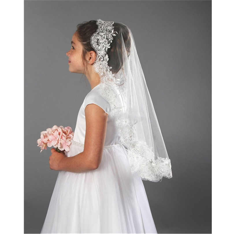 2019 ISHSY Wedding Flower Girls First Communion Veils Lace Edge One Layer Children Kids Tulle Veils Voiles Filles Velos De Novia