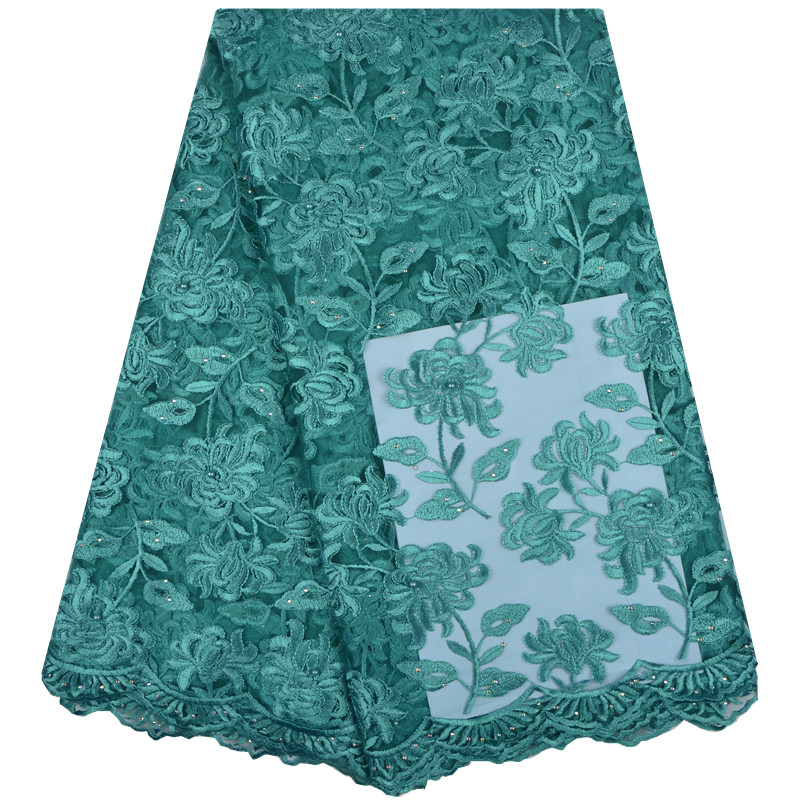 Green Nigerian French Lace Fabrics 2018 African Tulle Lace Fabric High Quality African Lace Wedding Fabric For Dress 1306