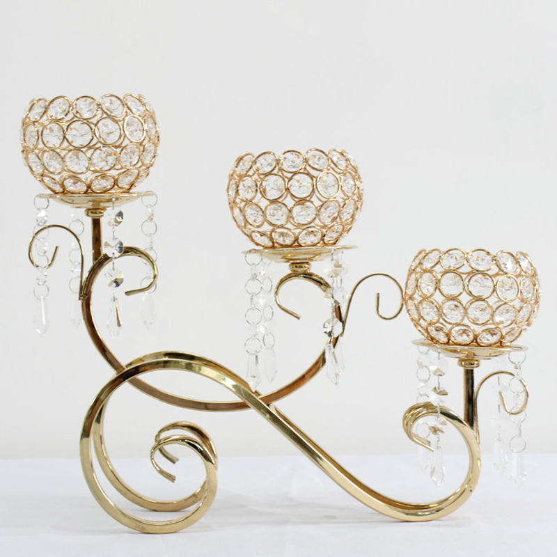 3 Arms Gold/Silver Tealight Candle Holder Crystal Candle Stand for Home Christmas Decorations for Home Candelabra 3DZT131