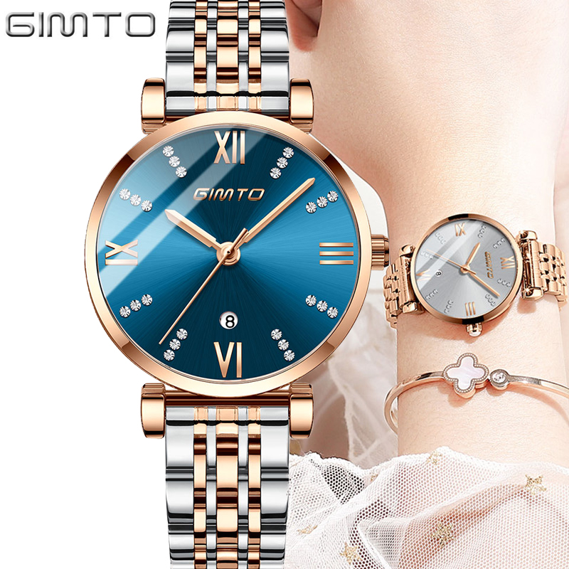 NEW GIMTO Women Watch Stainless Steel Waterproof Watches Ladies Top Brand Luxury Casual Clock Lady Wrist Watch Relogio Feminino NEW GIMTO Women Watch Stainless Steel Waterproof Watches Ladies Top Brand Luxury Casual Clock Lady Wrist Watch Relogio Feminino