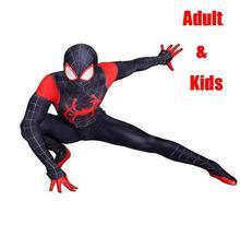 цены на high quality Miles Morales Spiderman 3D Print Costume Adult Kids Boys Spider Man Cosplay Costume Superhero Zentai Spiderman Suit  в интернет-магазинах
