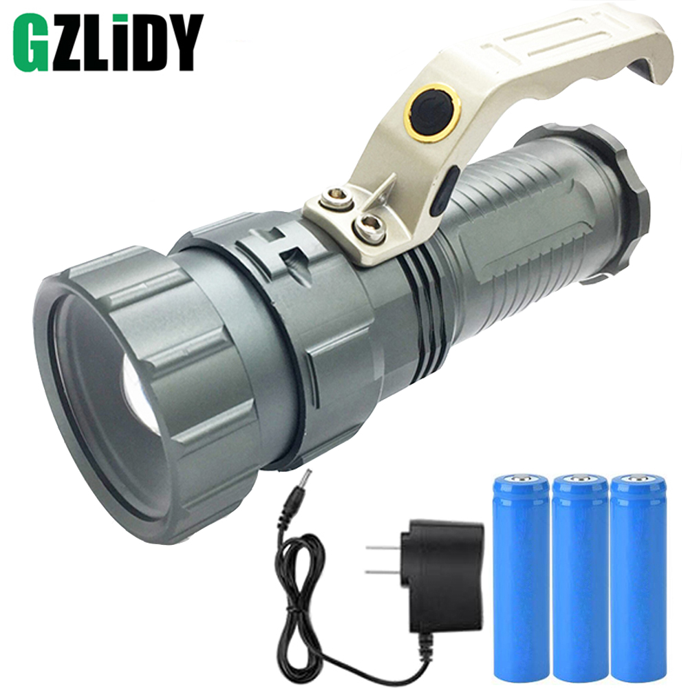 Powerful LED Flashlight CREE XM-L T6 2000LM 3 Modes Torch Search Camping Fishing Miner's Lamp lantern Light rechargeable 2000lm tactical cree xm l t6 led flashlight 5 modes 2 18650 battery dc car charger power adapter