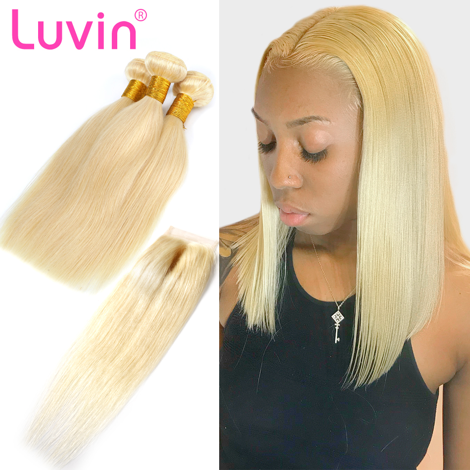 Luvin 613 Blonde Straight Brazilian Human Hair Bundles with Closure 3 Bundles Remy Hair Weft And