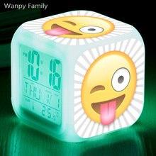 [Wanpy Family] Funny expression Emoji Digital Alarm Clock For Childrens room Bedside Desktop Color Changing