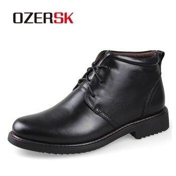 OZERSK 2020 Autumn Winter Men Plush Boots Size 38~45 Vintage Style Boots Men Shoes Casual Fashion High Cut Lace Up Warm Shoes