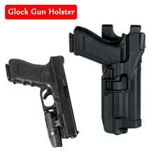 Pistoolaccessoires Riempistool Holster passend voor Glock 17 18 19 30 31 met zaklamp Blackhawk LV3 riemholster